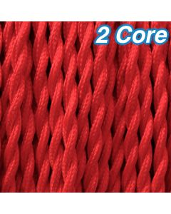 Red Twisted Fabric Cloth Cord 2 Core Lighting Cable 240v