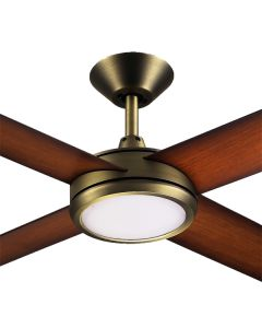 "Antique Brass LED Ceiling Fans Hunter Pacific Concept3 52"" Dimming"