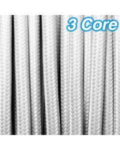 White Fabric Cloth Cord Cable 3 Core 240v