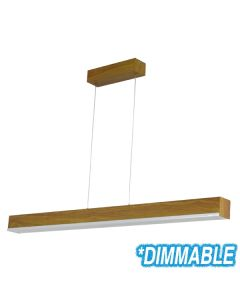 Teak Timber Linear Bench Lights Wooden Kitchen Lighting LED Pendants Suspended