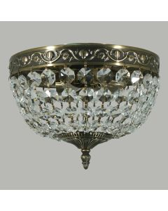 Le Pavillon Lighting Traditional Crystal Lights Antique Brass Flush Lode International