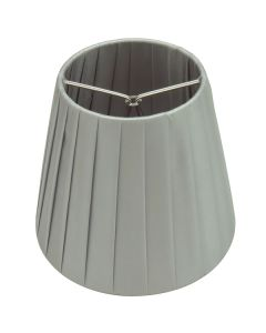 Clip On Bulbs Shades Grey Ling Pleated Silver Fabric Pendants Lights