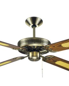 "Antique Brass Ceiling Fans Traditional Majestic Coolah 52"" AC Timber Hunter Pacific"