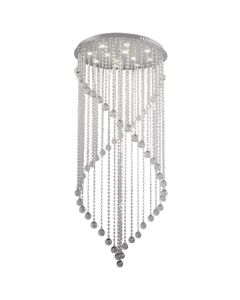 Majesty Crystal Chandeliers Dimming LED Lights Spiral Foyer Void Lighting Pendants