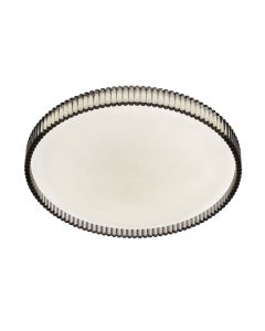 Smoke Rosario 30 18w LED Oyster Lights Tri Colour Ceiling Lighting Telbix