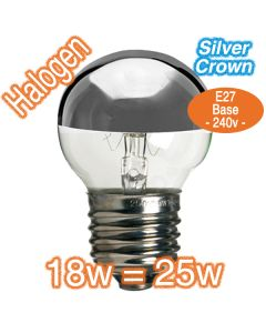 18w E27 Silver Crown Halogen Lamp 240v Globe