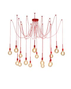 Cheap Spider 16 Lights Pendants Cafe Lighting Hanging Red Ceiling Draped Large