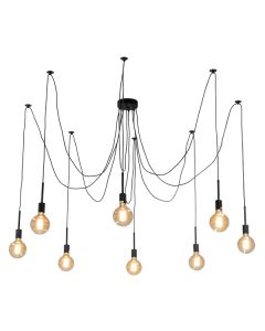 Spider Black Pendants Lighting 8 Lights Cafe Shopfitting Hanging