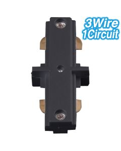 Black Straight Joiner Track Lighting 3Wire 1Circuit Ceiling Lights