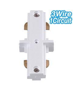 White Straight Joiner Track Lighting 3Wire 1Circuit Ceiling Lights