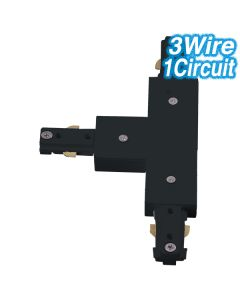 Black T-Shaped Joiner Track Lighting 3Wire 1Circuit Ceiling Lights