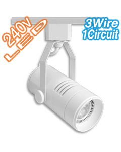 White LED Cylinder Track Lights 3 Wire Ceiling Commercial Lighting