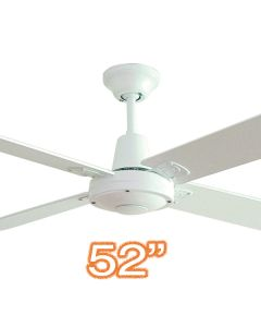 "Quiet Indoor Ceiling Fan Typhoon M3 52"" AC Plywood White Hunter Pacific"