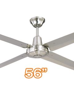 "Outdoor Ceiling Fans Bedroom Hunter Pacific Typhoon M3 56"" AC Metal Brushed Chrome"