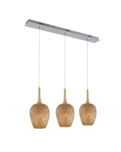 Bamboo Verno 3 Lights Pendants Beachy Kitchen Lighting Rattan Island Bench